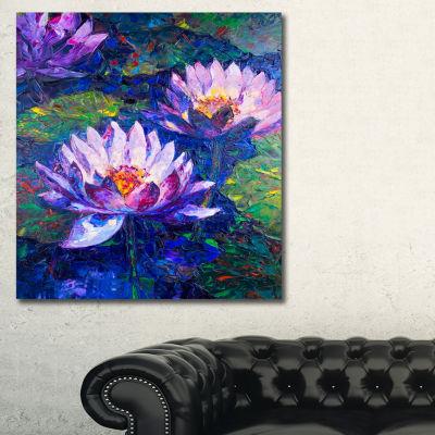 Designart Blue Lotus Oil Painting Floral Art Canvas Print - 3 Panels