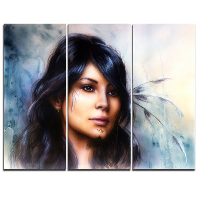 Designart Indian Woman With Ornament Tattoo Portrait Canvas Art Print - 3 Panels