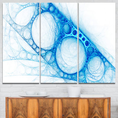 Designart Blue Metal Construction Abstract CanvasArt Print - 3 Panels