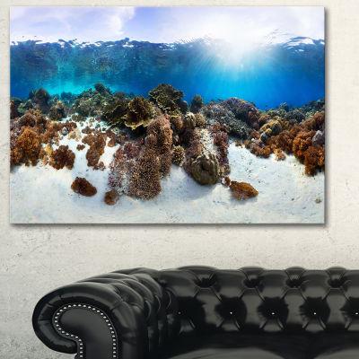 Designart Indonesia Underwater Panorama Photography Canvas Art Print - 3 Panels