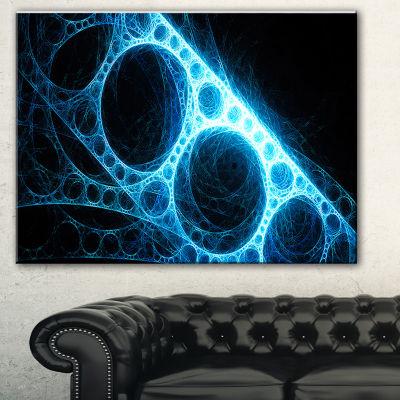 Designart Blue Metal Construction In Black Abstract Canvas Art Print