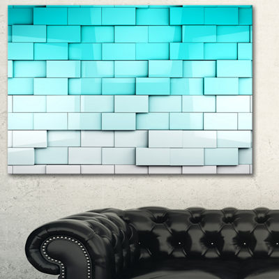 Designart Blue Mosaic Cubes Contemporary Artwork-3Panels