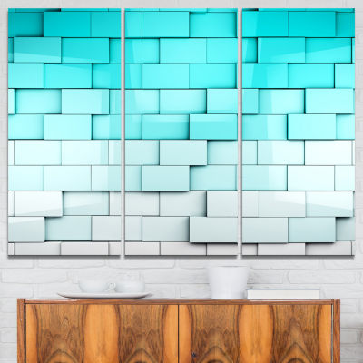 Designart Blue Mosaic Cubes Contemporary Artwork -3 Panels