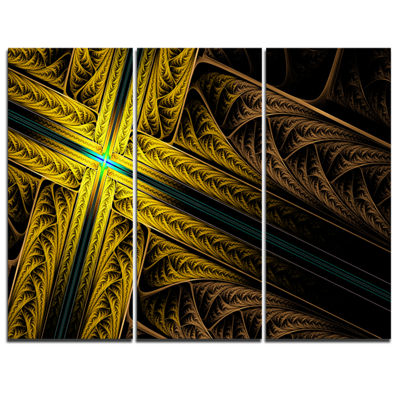 Designart Intricate Multi Colored Cross AbstractPrint On Canvas - 3 Panels