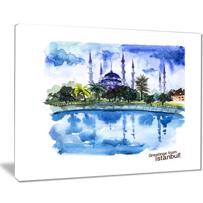 Designart Istanbul Hand Drawn Illustration Cityscape Painting Canvas Print