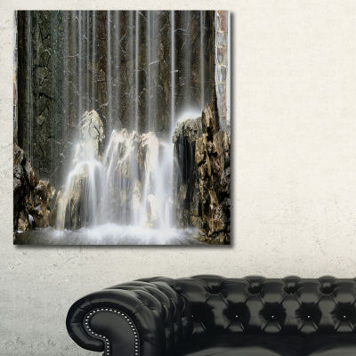 Designart Blue Mountain River Photography CanvasArt Print - 3 Panels