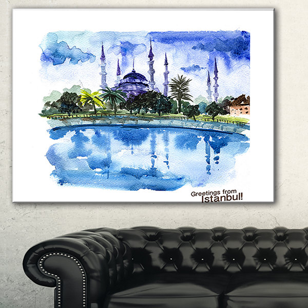 Designart Istanbul Hand Drawn Illustration Cityscape Painting Canvas Print - 3 Panels