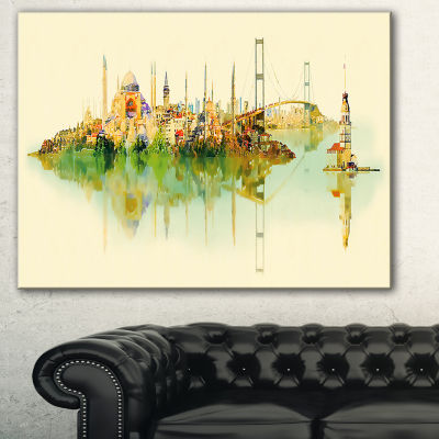 Designart Istanbul Panoramic View Cityscape Watercolor Canvas Print - 3 Panels