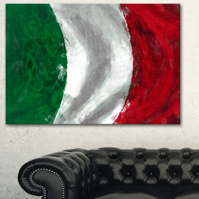 Designart Italy Flag Contemporary Canvas Art Print