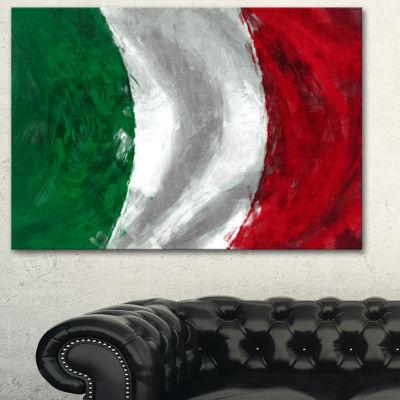 Designart Italy Flag Contemporary Canvas Art Print- 3 Panels