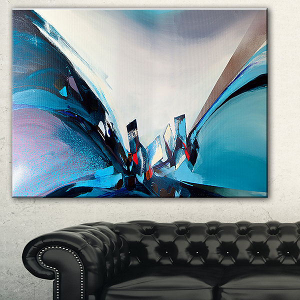 Designart Blue Panoramic Abstract Design AbstractCanvas Art Print - 3 Panels