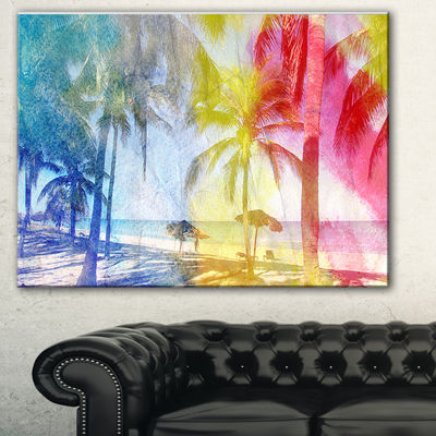 Designart Blue Retro Palm Trees Landscape PaintingCanvas Print - 3 Panels