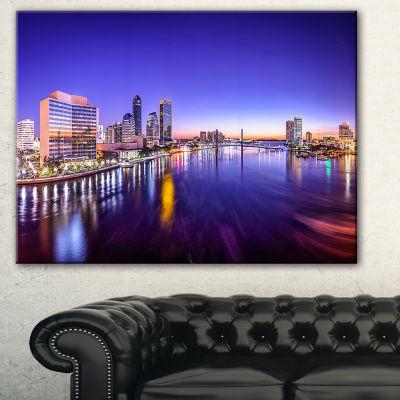 Designart Jacksonville Florida City Cityscape Photography Canvas Art Print - 3 Panels