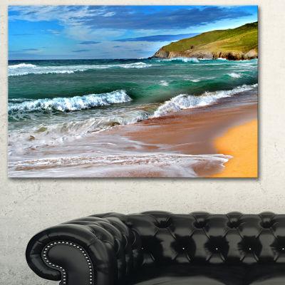 Designart Blue Sea With Warm Waves Seascape CanvasArt Print