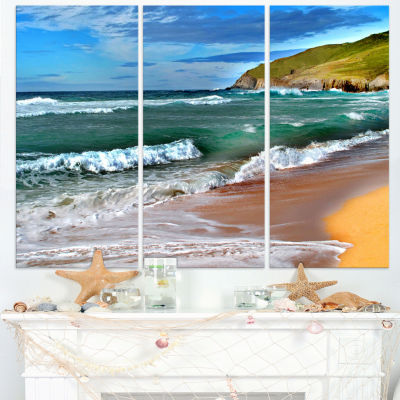 Designart Blue Sea With Warm Waves Seascape CanvasArt Print - 3 Panels