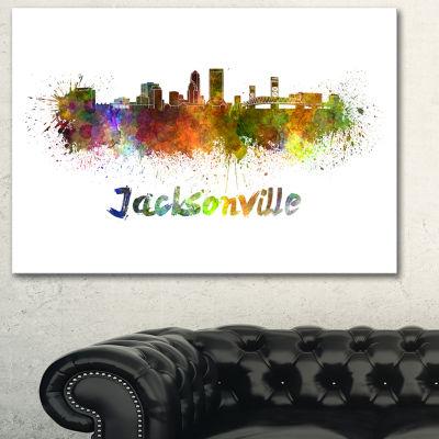 Designart Jacksonville Skyline Cityscape Canvas Art Print - 3 Panels