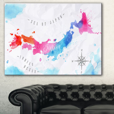 Designart Japan Map Watercolor Abstract Wall Art Canvas