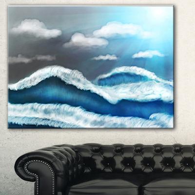 Designart Blue Sky With Clouds Landscape Art PrintCanvas - 3 Panels