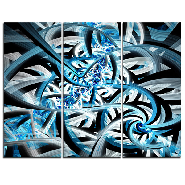 Designart Blue Spiral Fractal Design Abstract Canvas Art Print - 3 Panels