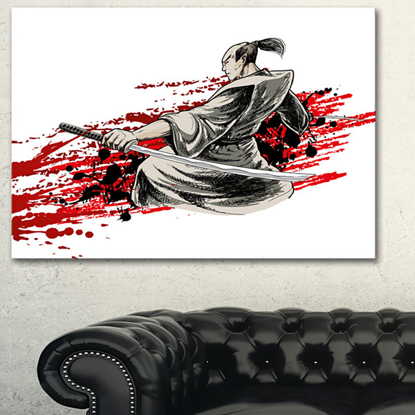 Designart Japan Warrior Japanese Canvas Artwork -3Panels