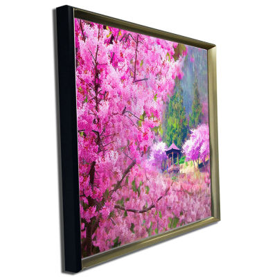 Designart Japanese Cherry Flowers Floral Art Canvas Print