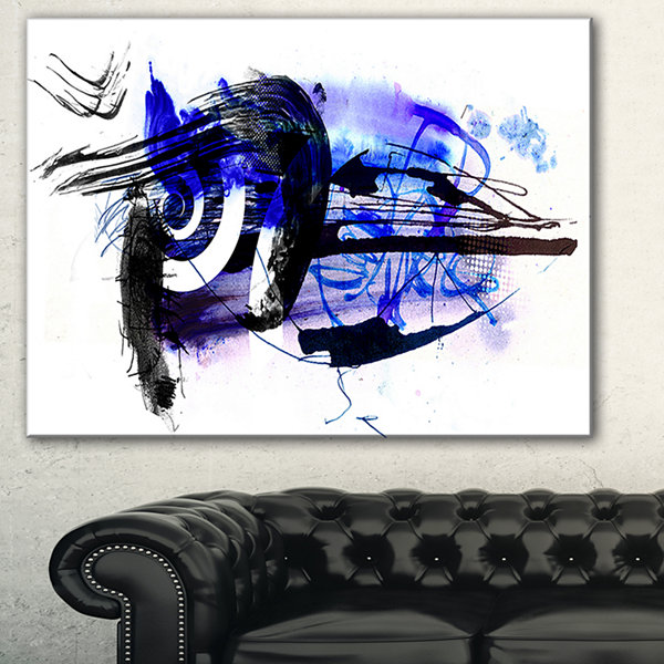 Designart Blue Stain Abstract Abstract Canvas ArtPrint