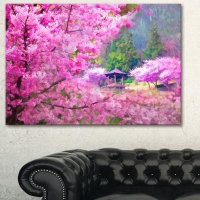 Designart Japanese Cherry Flowers Floral Art Canvas Print - 3 Panels