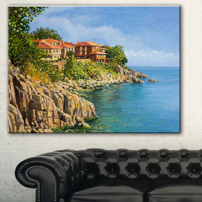 Designart Blue Summer Sea Landscape Painting Canvas Art Print