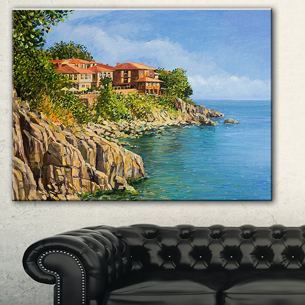 Designart Blue Summer Sea Landscape Painting Canvas Art Print - 3 Panels