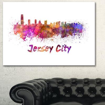 Designart Jersey City Skyline Cityscape Canvas Artwork Print