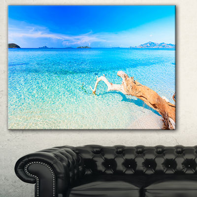 Designart Blue Tropical Beach Panorama PhotographyCanvas Art Print - 3 Panels