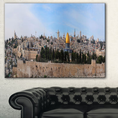 Designart Jerusalem Cityscape Panorama PhotographyCanvas Art Print - 3 Panels