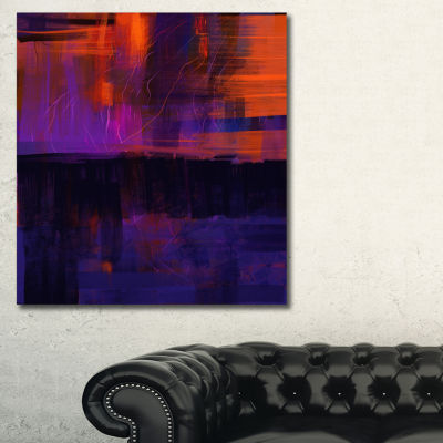 Designart Blue Vs Red Textures Abstract Canvas ArtPrint - 3 Panels