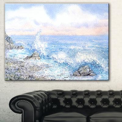 Designart Blue Watercolor Waters Seascape CanvasArt Print