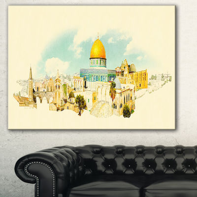 Designart Jerusalem Panoramic View Cityscape Watercolor Canvas Print
