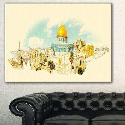 Designart Jerusalem Panoramic View Cityscape Watercolor Canvas Print - 3 Panels