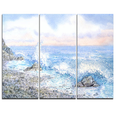 Designart Blue Watercolor Waters Seascape CanvasArt Print - 3 Panels