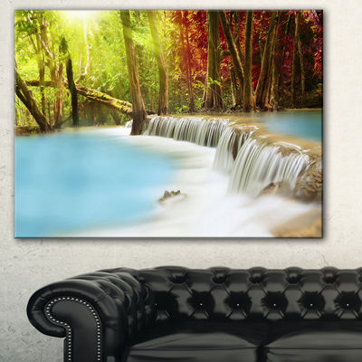 Designart Blue Waters Of Huai Mae Kamin WaterfallLandscape Art Print Canvas