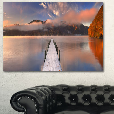 Designart Jetty In Lake Japan Seascape PhotographyCanvas Art Print