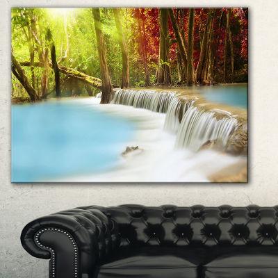 Designart Blue Waters Of Huai Mae Kamin WaterfallLandscape Art Print Canvas - 3 Panels