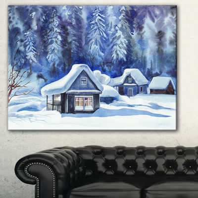 Designart Blue Winter Cottages Landscape Art PrintCanvas