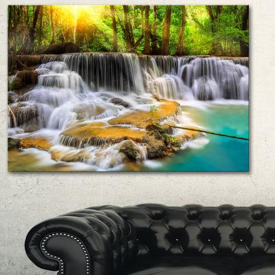 Designart Kanchanaburi Province Waterfall Photography Canvas Art Print - 3 Panels