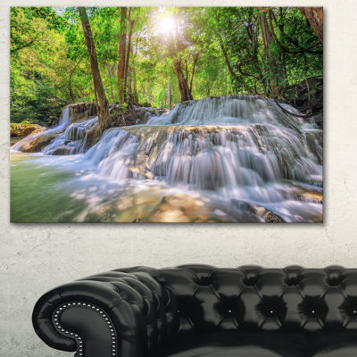 Designart Kanchanaburi Waterfall Photography Canvas Art Print - 3 Panels