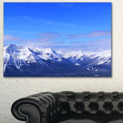 Designart Blue Winter Mountains Landscape Photography Canvas Print - 3 Panels