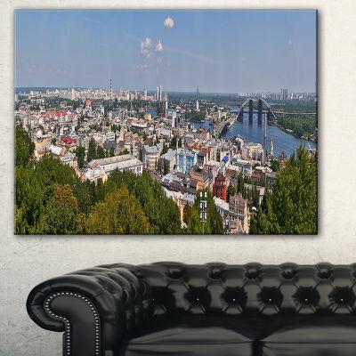 Designart Kiev Cityscape Panorama Photography Canvas Art Print - 3 Panels