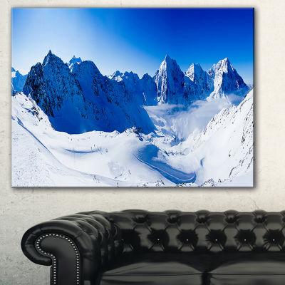 Designart Blue Winter Mountains Photography CanvasArt Print - 3 Panels