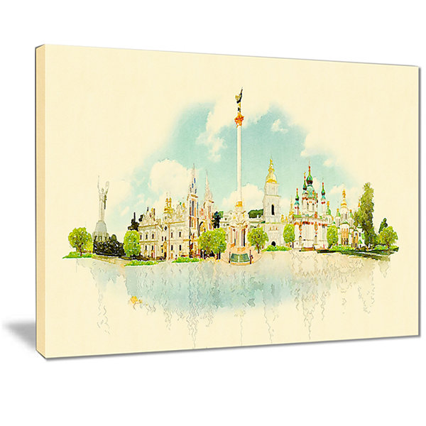 Designart Kiev Panoramic View Cityscape WatercolorCanvas Print