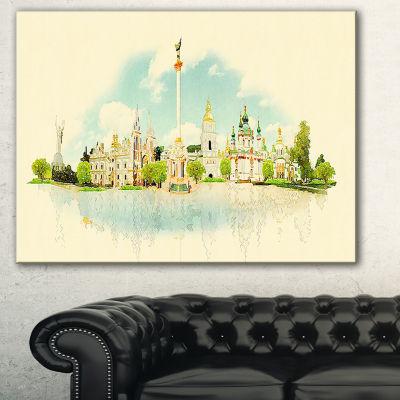 Designart Kiev Panoramic View Cityscape WatercolorCanvas Print - 3 Panels