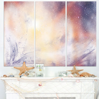 Designart Blurry Watercolor With Star Abstract Canvas Painting - 3 Panels