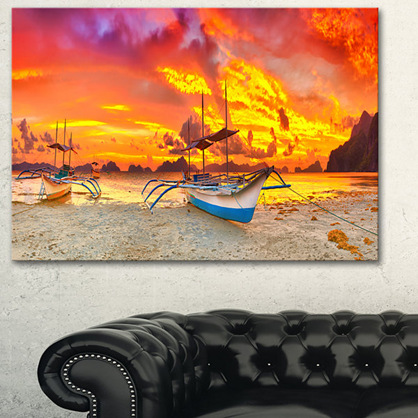 Designart Boat At Sunset Panorama Landscape Art Print Canvas